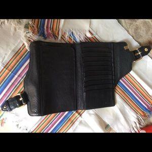 Bloomingdale's Bags - S & S Black Leather Snap Buckle Wallet